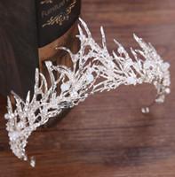 Splendida principessa matrimonio corone da sposa gioielleria copricapo diademi per le donne in metallo argento perle di cristallo strass barocco fasce per capelli