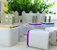 아이폰, 삼성을위한 충전기 미국 EU 플러그 2.1A AC 전원 어댑터 벽 충전기 플러그 2 포트 충전 금속 듀얼 USB 벽
