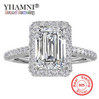 YHAMNI Fashion 100% Original Pure Silver 925 Ring Luxury Big 8mm 5A Zirconia Engagement Rings Crystal Jewelry For Women ZR999