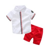 Kid boy striped withe shirt ripped red shorts clothes outfit...