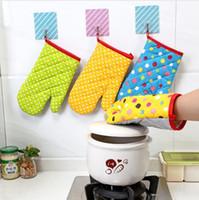 두꺼운 코튼 오븐 장갑 인쇄 된 도트 내열성 mitts 주방 조리 전자 레인지 미트 절연 비 - 슬립 bakeware 장갑