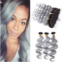Paquetes de paquetes de cabello humano gris plateado de Malasia Ombre 3 piezas con cierre frontal de encaje 13x4 Onda corporal # 1B / Paquetes de tejido de cabello gris Virgen Ombre