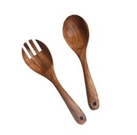 كبير ملعقة خشبية شوكة مجموعة ، المطبخ أدوات الطبخ الفاكهة الخضروات أدوات سلطة اثارة مجموعة أواني المطبخ الخشب بالجملة SN1820