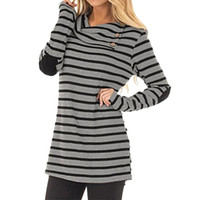 feitong Womens Casual Striped Turn- Down Collar Long Sleeve S...