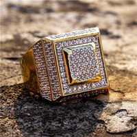 ICED OUT Men' s 14K Gold Rings Cluster Layered Squares R...