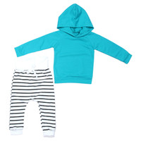 Bébé filles garçons printemps automne vêtements ensemble solide manches longues manteau à capuche chaud hoodies + pantalon long à rayures pantalon 2pcs / ensemble