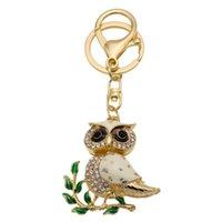 Cute Owl Sparkling Bag Charm Bling Bling Keychain Crystal Rhinestone colgante de regalo para las niñas encantos clave