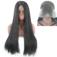 Z&F Black 80 CM Long Silky Straight Lace Front Wig Natural H...