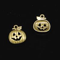 92 unids encantos de la aleación de zinc chapado en bronce antiguo calabaza linterna de halloween encantos para la joyería que hace DIY hechos a mano colgantes 18 * 15 mm