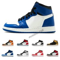 Discount 1 OG mens Basketball Shoes Black white blue Chicago...