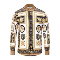 huge selection of 7f60c 176ff 2018-Hot Spring Fashion Brand Men Colthes Slim Fit Herren Kurzarmhemd  Medusa 3D Blumendruck Shirts