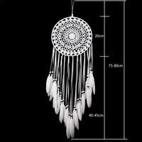 Nuevo Encaje hecho a mano Dream Catcher Circular con plumas Decoración de la pared Ornamento Ornamento Regalo hecho a ganchillo Blanco Dreamcatcher Wind Chimes