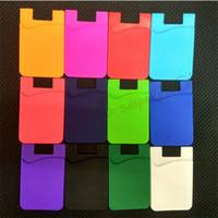 Custodie da portafoglio autoadesivo ultra-sottile in silicone in silicone colorato per smartphone
