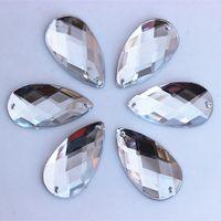 50 stks 16 * 30mm acryl kristal plaksteen kralen strass big drop accessoires naaien voor jurk stenen 2 gat ZZ424