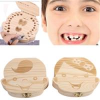 2018 Crianças Menino Menina Caixa De Dente Do Bebê caixas de Dentes organizador do bebê crianças Salvar os dentes de Leite caixa de Coleta de Armazenamento De Madeira presentes de ano novo