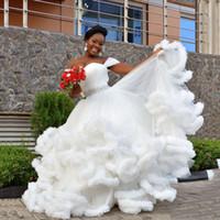 2018 Sweety Свадебные платья с плеча Многоуровневая рябить белые свадебные платья с баской формы в форме облака, длиной до пола, свадебные платья на заказ