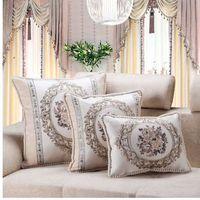 CURCYA Jacquard de lujo floral Beige sofá funda de cojín europeo francés Country Home Decor funda de almohada rectángulo cuadrado redondo