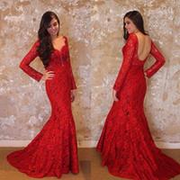 Бесплатная доставка выпускные платья русалка красное с длинным рукавом вечернее платье кружева платье выпускного вечера русалка вечернее платье V шеи ну вечеринку платья