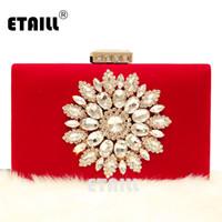 Hand Bag ETAILL diamante fiori borsa da sera in velluto nero rosso della borsa della frizione della sposa di cerimonia del partito la catena della spalla