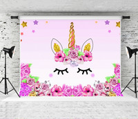 아이들을위한 7x5ft 핑크 유니콘 테마 드림 생일 파티 사진 만화 베이비 샤워 디저트 이야기 촬영 스튜디오 배경