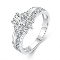 로맨틱 링 여성을위한 모방 화이트 골드 인레이 아날로그 다이아몬드 반지 아름다운 신부 약혼 결혼식 사랑 반지 보석