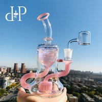 Plus Glass Bong Water Pipe 009B Honeycomb Recycler unico colore Peachblow coloratissimo tubo artistico con percolatore 7.5 Altezza 14mm Femmina