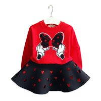 Baby girls outfits children Bow top+ Hollow skirts 2pcs set 2...
