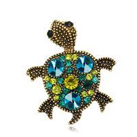 Strass per donna Strass piccola spilla tartaruga in bronzo colorato con spilla in cristallo Gioielli di moda interessanti per giacca cappotto