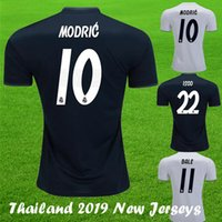2018 19 Nouveau Luka MODRIC real madrid  Soccer Maillot KROOS ISCO ASENSIO BALE 2019 Maison Blanc Extérieur Bleu Champion Leauge real madrid Maillot Football