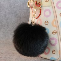 simple cut 100Pcs keychain black pink rabbit fur ball pendan...