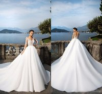 2017 Milla Nova Sheer Long Sleeve Wedding Dresses Jewel Neck...