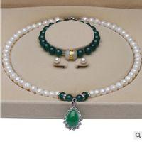 ensembles de bijoux de bijoux pour les femmes Pearl bracelets collier de perles d'eau douce blanc brillant Boucles d'oreilles de mode chaud