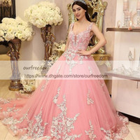 2019 Gorgeous White Appliques Pink Evening Dresses V Neck Sexy Backless Sweep Train Formal Evening Dresses Occasion Custom Made