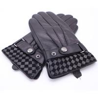 2018 رجال الشتاء قفازات جلد طبيعي الرجال مشبك أفخم الدافئة الحرارية قفازات شاشة اللمس القيادة القفازات السوداء AGB670