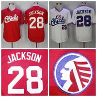 Mens Moive Memphis Chicks # 28 Bo Jackson Baseball Jersey Günstige rot weiße Memphis Chicks Bo Jackson genäht Baseball-Shirts