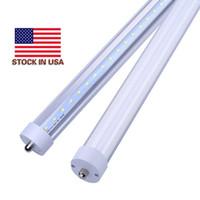 الأسهم في الولايات المتحدة + 8ft فا 8 أدى أنبوب دبوس واحد 8 قدم T8 أدى أنابيب الضوء 192LEDS SMD2835 LED ضوء الفلورسنت 48W 4800LM AC85-277V