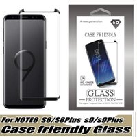 2018 case friendly gehärtetes glas für samsung galaxy s9 note 8 note8 s8 plus s7 edge 3d gebogene case version phone displayschutzfolie