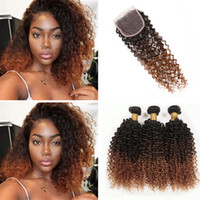 9A Ombre Kinky Curly Brazilian Hair with Lace Closure 3 Tone...