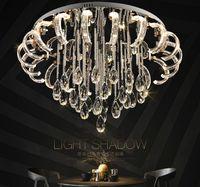 현대 간결한 거실 크리스탈 램프 천장 조명 LED 라운드 크리 에이 티브 홈 베드룸 마스터 침실 빛 LLFA