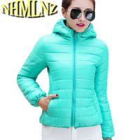 Toptan-11 Renkler Yeni Kış Ceketler Kadın Kabanlar İnce Kapşonlu Aşağı pamuk Ceketler Kadın Sıcak Işık İnce Parkas Bi metre M-2XL-F1272
