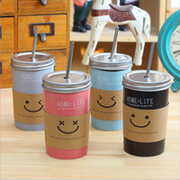 Summer Juice Water Coffee Cups 480ML Smile Face Korea Creati...