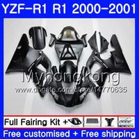 Cuerpo para YAMAHA YZF 1000 YZF R 1 YZF-1000 YZFR1 00 01 Marco 236HM.0 YZF-R1 00 01 Carrocería YZF1000 YZF R1 2000 2001 Carenado TODO Negro mate