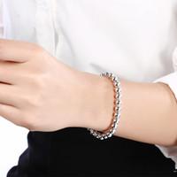 ¡Promoción! 10 unids / lote 925 plata esterlina 4mm / 6mm / 8mm / 10mm Bola hueca Pulsera de bolas para las mujeres / hombres 925 Silver Women's Jewelry