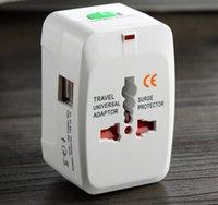 الكل في واحد مع محول USB العالمي الاتحاد الافريقي المملكة المتحدة الولايات المتحدة السفر محول قابس الطاقة الدولية مع مربع التجزئة 50Pcs يصل