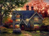 Thomas Kinkade Landscape Gingerbread Cottage, Oil Painting Re...