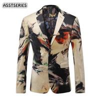 Asstseries chaqueta para hombre del nuevo diseñador de colores Chaqueta para hombre de la chaqueta de la moda italiana impresa ocasional de la boda del baile de los hombres