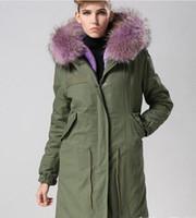 Nuovo annuncio Lavanda pelliccia di procione trim MEIFENG Lavanda pelliccia di coniglio fodera verde militare tela lunga parka