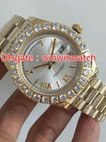 Prong set diamonds bezel watch automatic mens luxury gold 43...