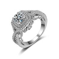 Luxus versilbert Diamant Ringe für Frauen Kristalle Fingerringe 2018 Mode Hochzeit Prom Abend Zubehör