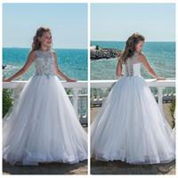 2021 Bling Bling con cuentas de cristal blanco chicas del desfile de vestidos para adolescentes tul de longitud de playa vestidos de niña para bodas de encargo